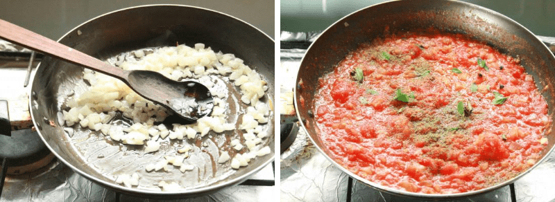 Cocinando Salsa de tomate para Canelones