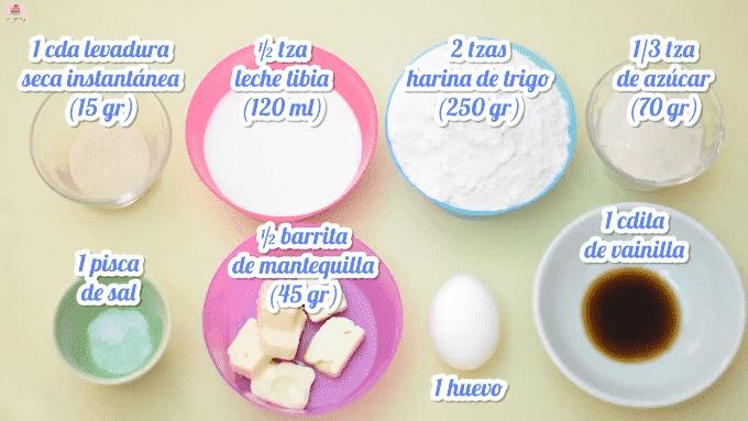 Ingredientes para masa de donas